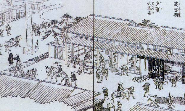 「近江名所図会」に描かれた高宮布の店