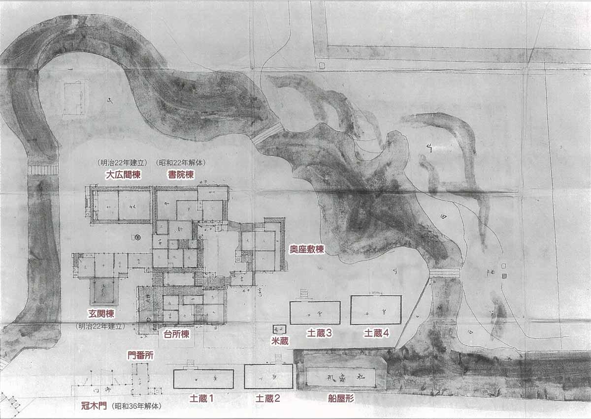昭和時代(戦前)の松原下屋敷絵図